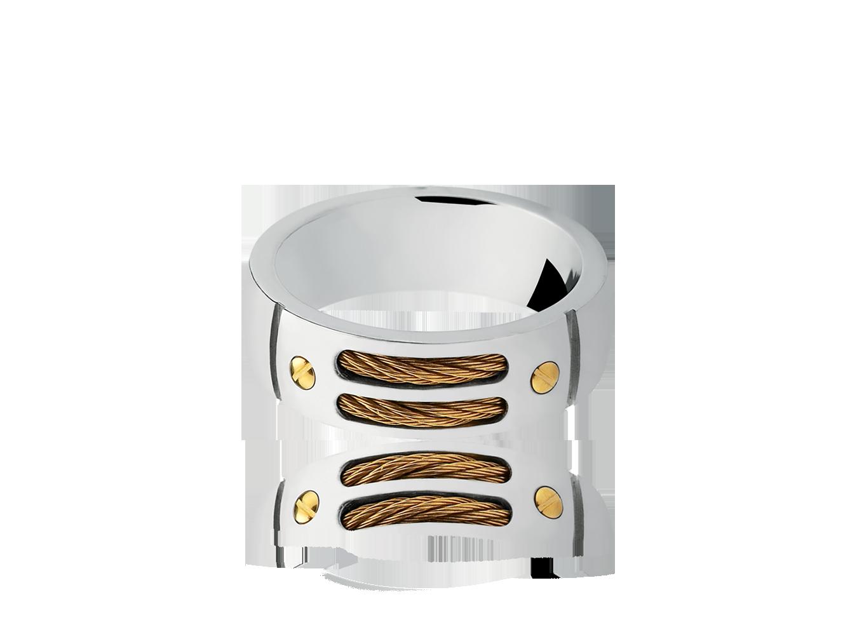Anel Titanium com Fio de Aço Gold
