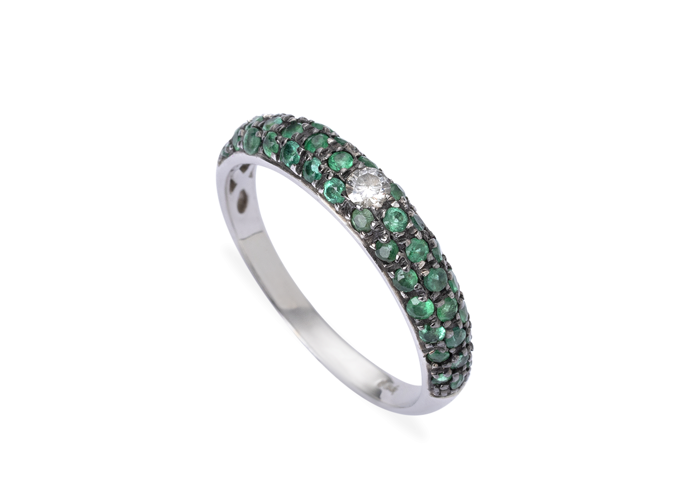 Anel Emerald Pave
