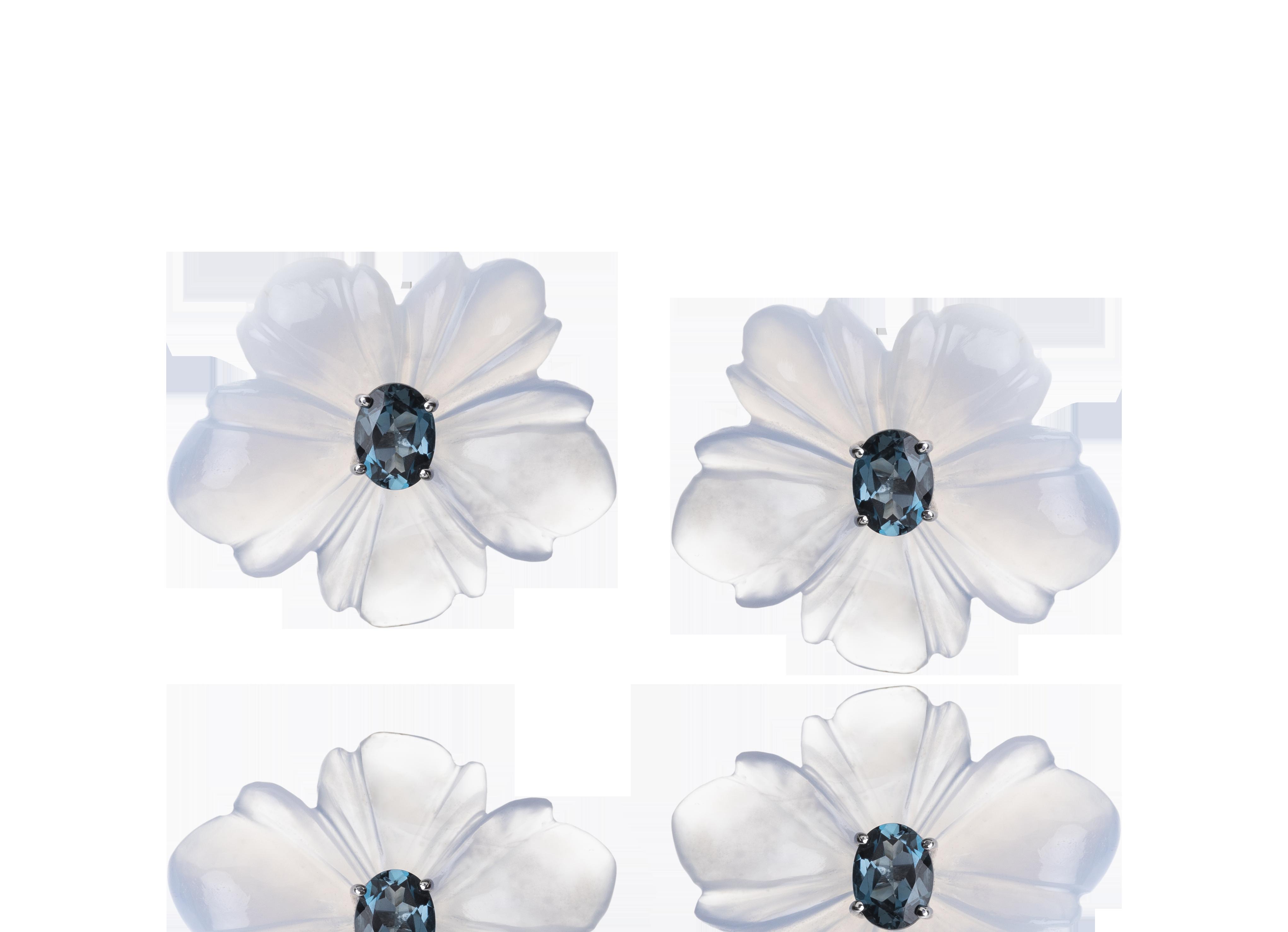 Brinco Chalcedony Flowers