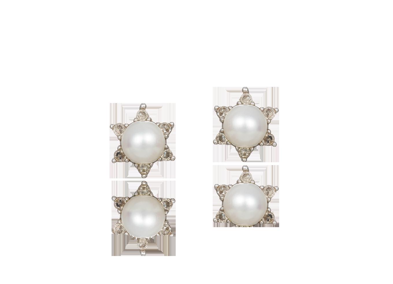 Brinco Infantil Estrelas de Pérola. Par de brincos infantis em ouro ... c90f7319e4