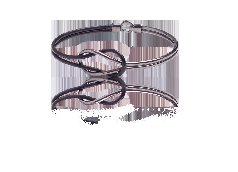 Bracelete Double Knot Ródio Negro e Couro Preto