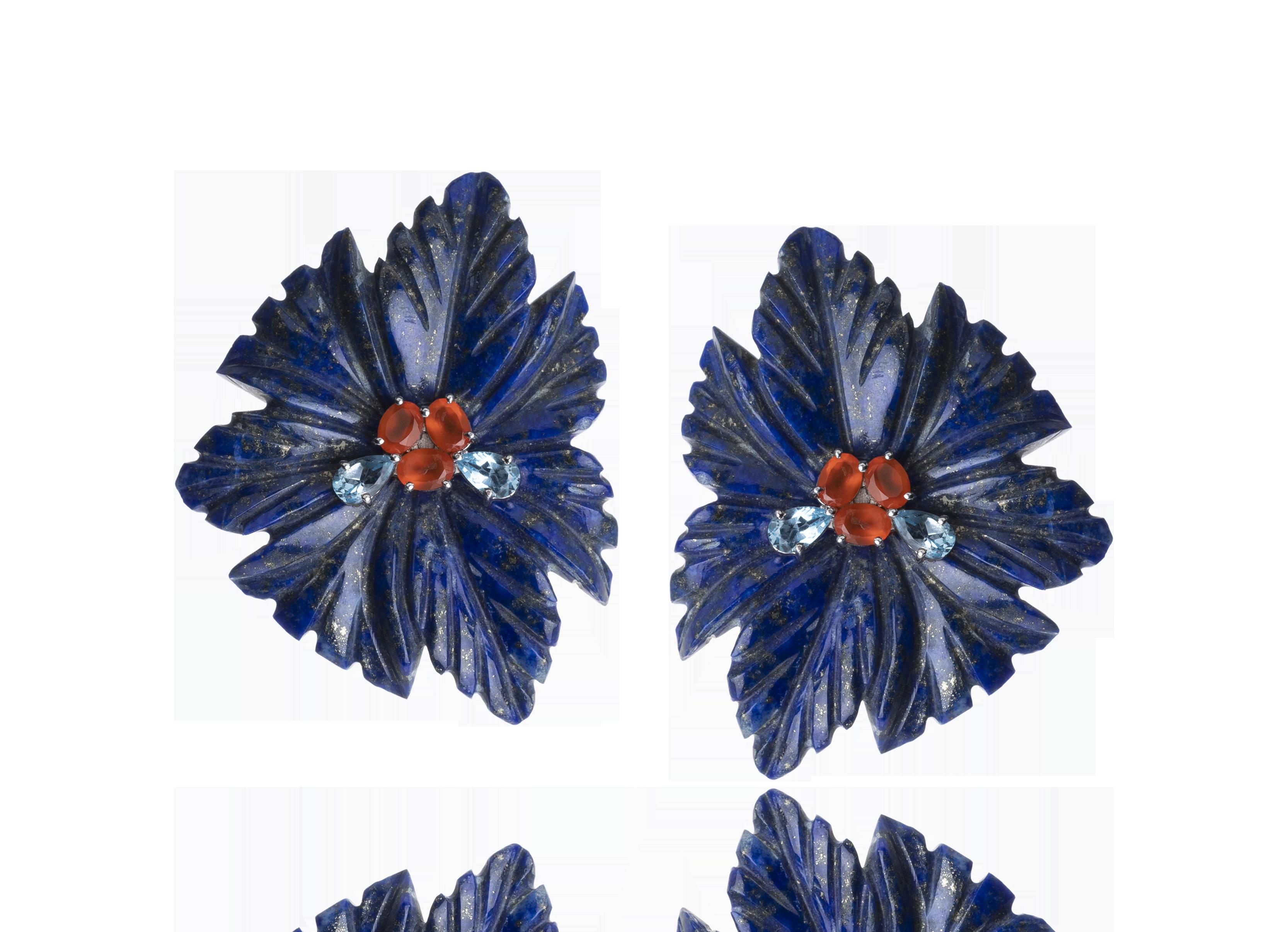 Brinco Lápis Lazuli Flowers