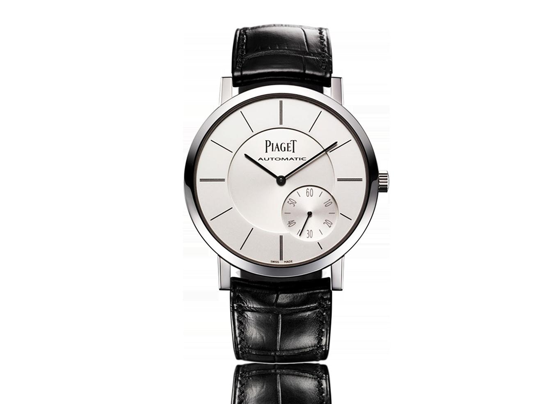 Piaget Altiplano automático de prata Dial Black Leather Mens Watch